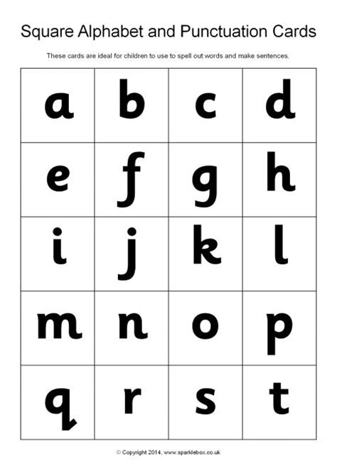 printable alphabet letters sparklebox square alphabet and punctuation cards sb10449 sparklebox