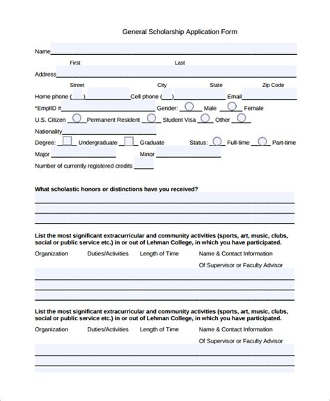 scholarship forms template scholarship application images