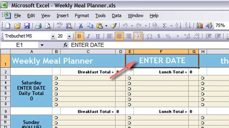 Starling Fitness Fitness Diet And Health Weblog 187 Weekly Meal Planning Spreadsheet Meal Plan Exles Templates