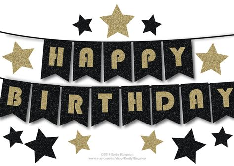 printable birthday banner black and white happy birthday bunting banner printable decoration black and