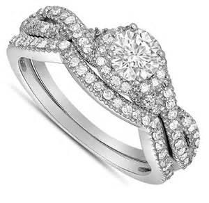 Infinity Ring Wedding Sets 2 Carat Infinity Wedding Ring Set In White