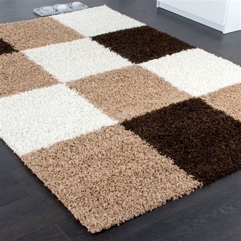 long shag rug shaggy carpet high pile long pile chequered in brown beige