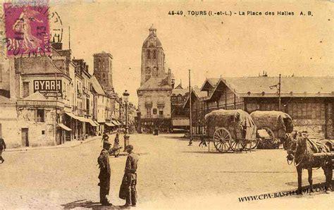 tours la place des halles cartes postales anciennes
