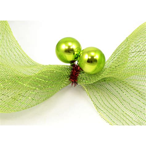 3 quot red tinsel ties w 50mm balls lime green set of 12