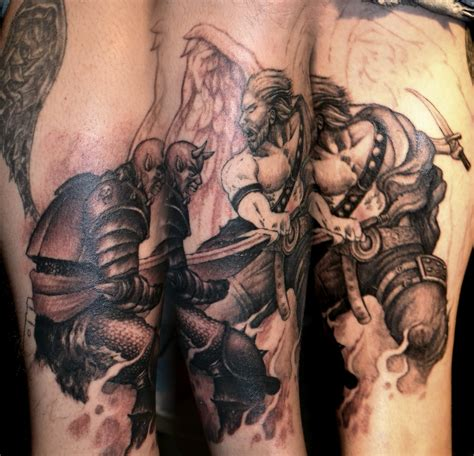 angel and demon fighting tattoos tattoos by trerrotola fighting