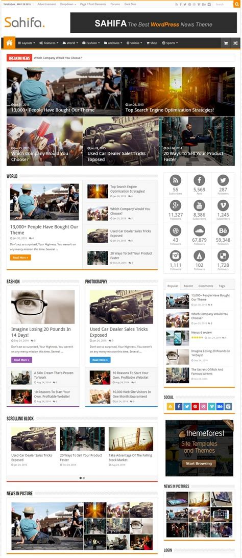 sahifa theme gallery 20 best responsive magazine and newspaper style wordpress