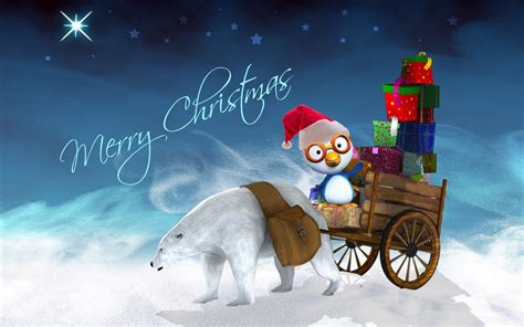 happy christmas polar bear cart  gifts penguin desktop hd wallpaper  wallpaperscom