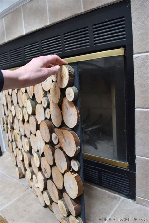 faux stacked log fireplace screen burger