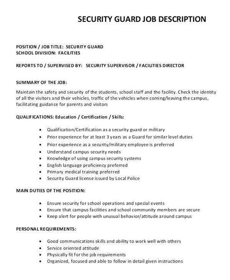 security guard description security officer resume duties awesome mall security guard