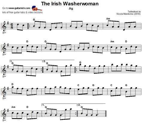 The irish washerwoman sheet music guitar tab guitarnick com
