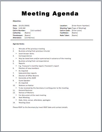 exle of a meeting agenda template basic meeting agenda template exle helloalive