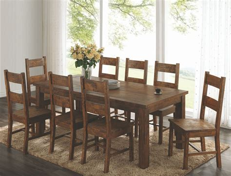 Rectangle Dining Room Sets Coleman Rustic Golden Brown Rectangular Dining Room Set From Coaster Coleman Furniture