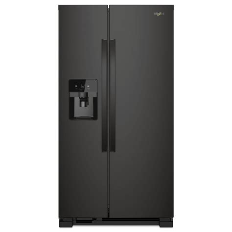 whirlpool 36 in w 24 55 cu ft side by side refrigerator in black shop your way