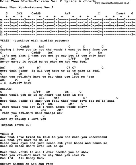 tutorial guitar more than words love song lyrics for more than words extreme ver 2 with