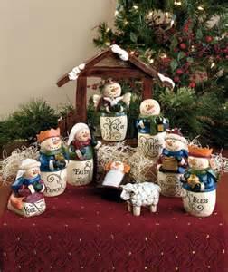 10 piece inspirational snowman nativity set christmas
