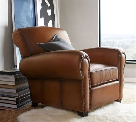 manhattan leather recliner with nailheads manhattan leather armchair with nailheads pottery barn