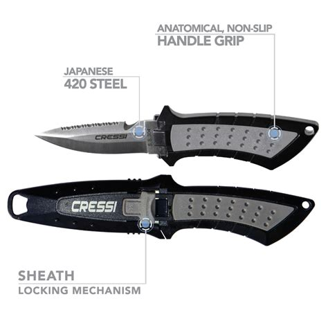scuba diving knife co2 cressi lima stainless steel 2 95 quot blade