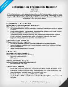 Resume Exle It by Information Technology It Resume Sle Resume Companion