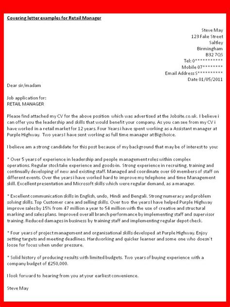 How to get a Job: Covering letter examples for Retail Manager