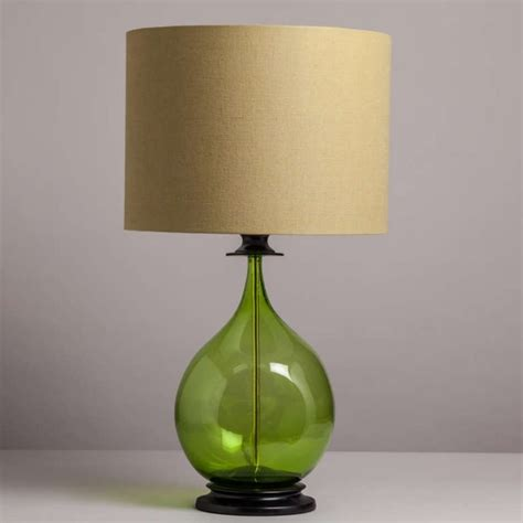 Green Glass Table Lamp For Modern Bedroom Design Ideas