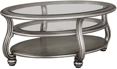 Coffee Table Silver Coralayne Silver Oval Cocktail Table Dallas Tx Occasional Tables Furniture Nation