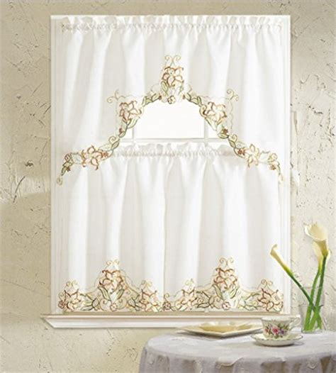 Cat Kitchen Curtains B H Home Floral Embroidered 3 Kitchen Curtain Window Treatment Set Beige Pet Bed