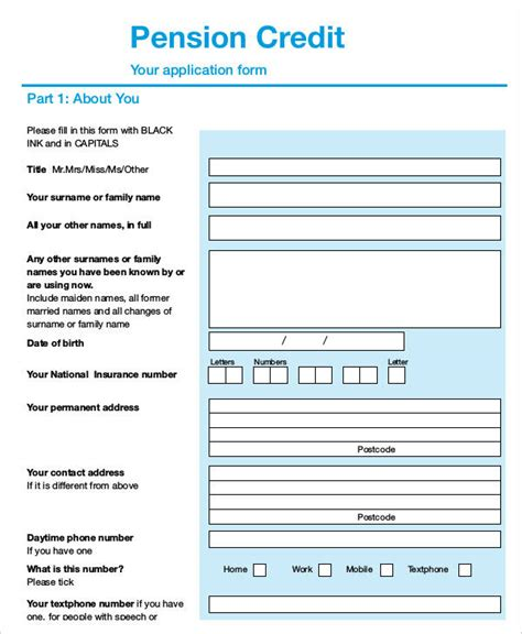 Pension Credit Guarantee Form 35 application form sles free premium templates