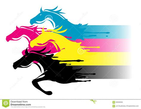four color fast cmyk printing concept stock vector illustration