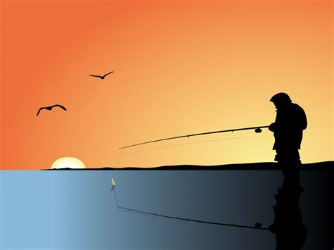 Fishing Man Backgrounds Black Orange Powerpoint Fish Ppt Templates Free