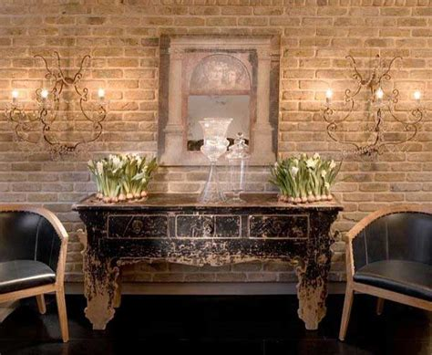 exposed brick wall ideas vintage small living room with exposed bricks wall design