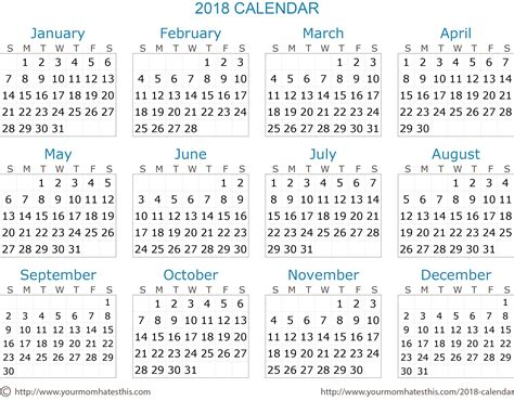 2018 Printable Calendar Word 2018 Calendar Quality Calendars