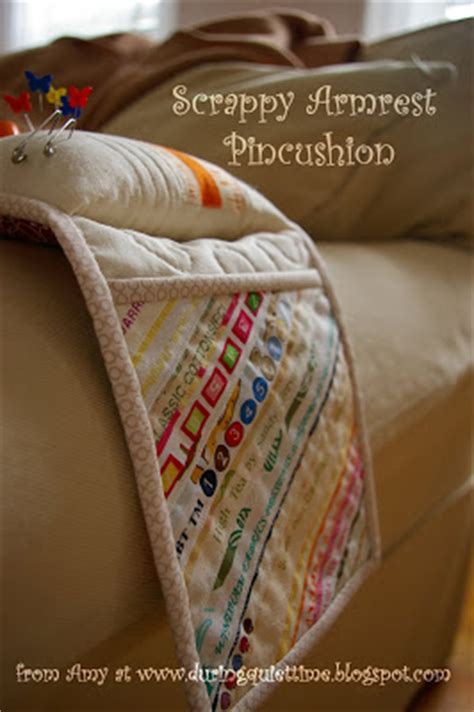 Armchair Pincushion by Scrappy Armrest Pincushion Tutorial During Time