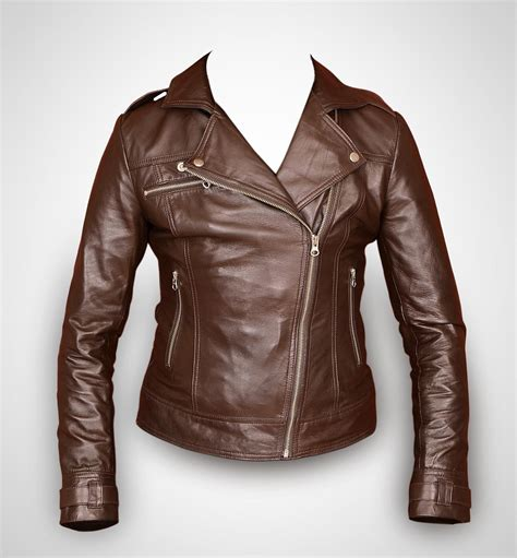 ladies brown biker brown leather jacket women leather jacket ladies