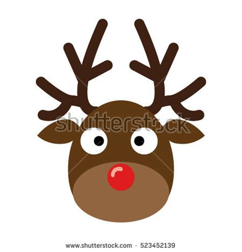 fibreglass christmas reindeer head deer headreindeer isolated on white stock vector 523452139
