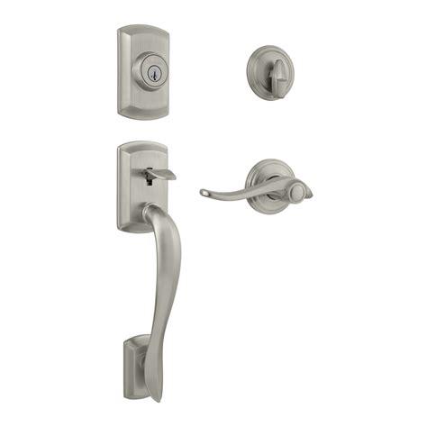 Shop Kwikset Avalon Smartkey Satin Nickel Single Lock Kwikset Front Door Hardware
