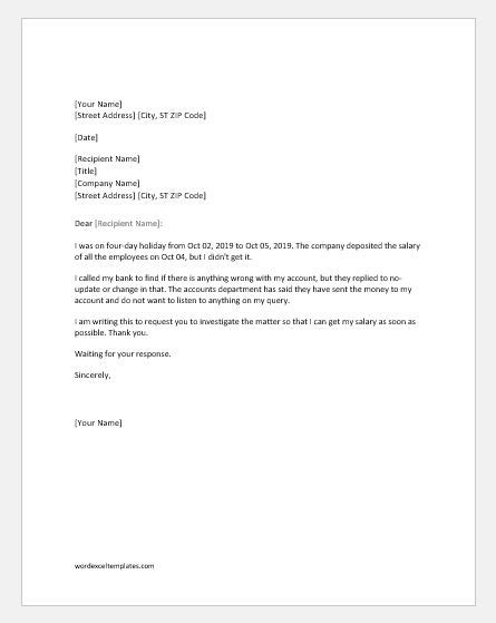 Complaint Letter Product Not Received salary not received complaint letter to word