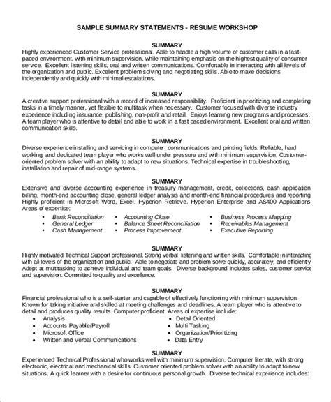 Customer Service Resume Summary by 8 Customer Service Resume Exles Sle Templates