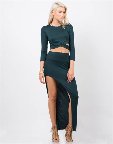 dramatic slit midi skirt black skirt green skirt 2020ave