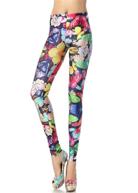 color jeggings s fashion colorful butterflies print l7888