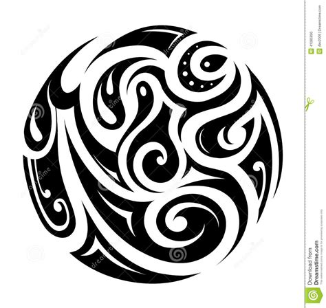 round tribal tattoo tribal circle stock vector illustration of