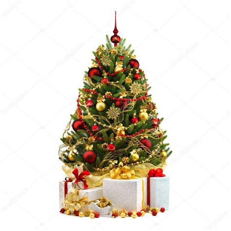 decorated christmas tree on white background stock photo