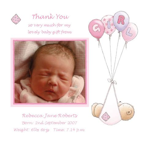 baby thank you photo card templates baby card t2g thank you card buy personalised