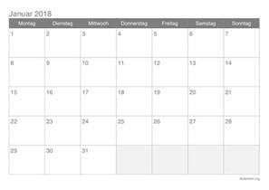 Kalender 2018 Zum Ausdrucken Monat Kalender Januar 2018 Zum Ausdrucken Ikalender Org