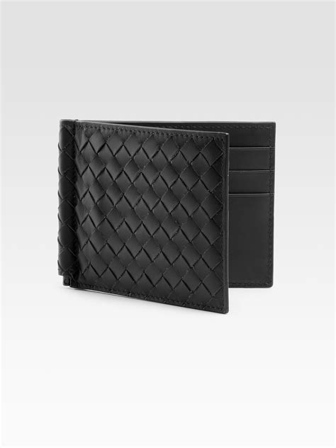 bottega veneta classic woven wallet in black for lyst