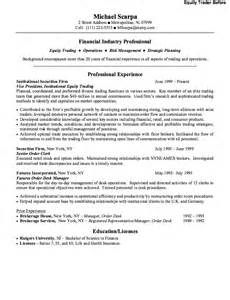 Equity Trader Sle Resume by Equity Trader Resume Exle Resumes Design