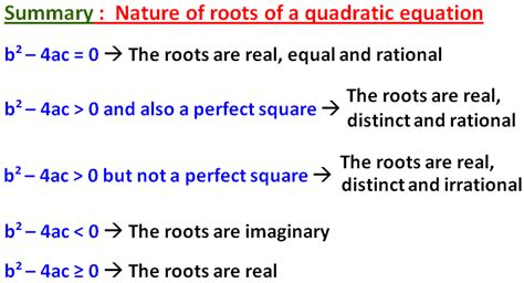determine the nature of the roots of the quadratic equation
