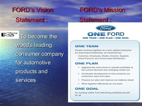Ford Motor Company Mission Statement by Ford Motor Company Mission Statement Frame Design