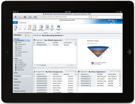 Microsoft Dynamics Applicant Tracking System Dashboard In Microsoft Crm On An Professional