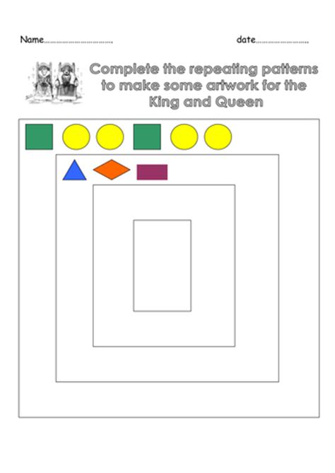 repeating patterns worksheet tes year 1 repeating patterns castles link by