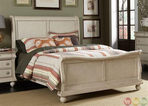 rustic traditions ii whitewash sleigh bedroom furniture set